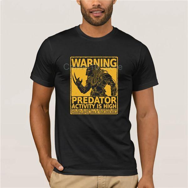 Мода Отпечатано мужская футболка с коротким рукавом Смешной Мужчины O шеи Чужеродные Предупреждение Predator Хэллоуин Летняя одежда Top Мужская майка