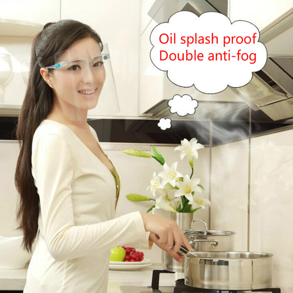 top popular Double anti-fog Safety Face shield Transparent anti-oil splash Clear ECO PET Reusable Protective Anti-splash Face Shield Mask 2020