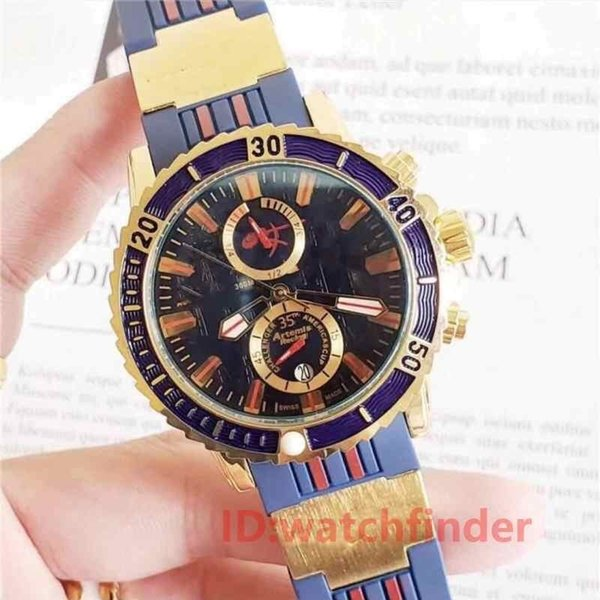 luxury rubber strap rose gold quartz chronograph sport watch rubber un men dive designer mens watches wristwatches maxi marine, Slivery;brown