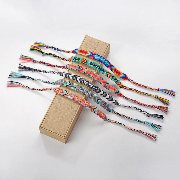 94e740b45d2f6 Woven Braided Bracelet For Women Men Retro Handmade Bohemian Thread  Bracelet Boho Multicolor String Cord Hippie Friendship Bracelets Gold  Chains ...