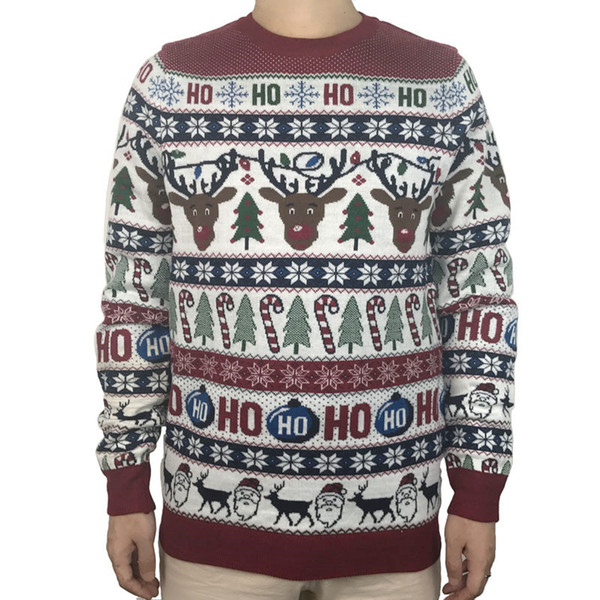 Washable Funny Light Up Ugly Christmas Sweater for Men Cute Reindeer Santa Claus Knitted Xmas Pullover Jumper Plus Size S-2XL