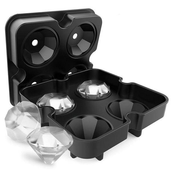 New Design 3D Diamond Ice Cube Ice Maker Diamond Shape Tray Mold Cube Cocktails DIY Cake Candy Ice Cream Silicone for Whiskey Tool