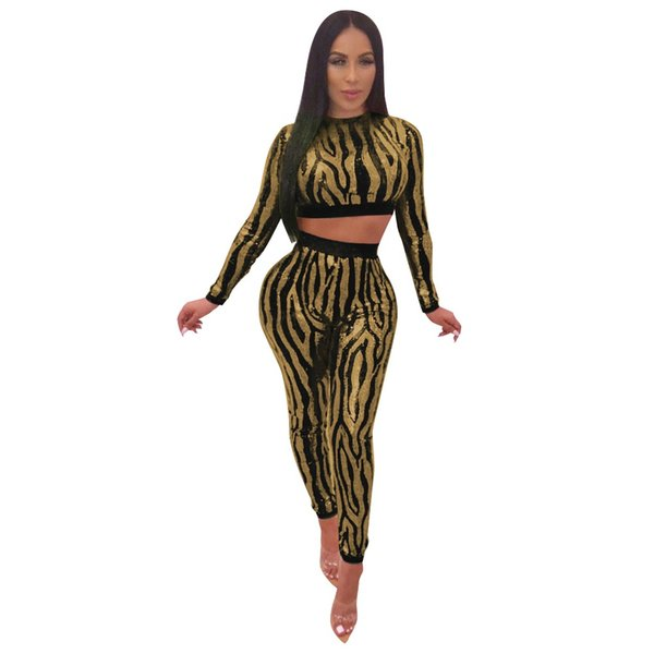 Black Mesh Sequin Glitter Sexy Club Outfits Women Two Piece Set Long Sleeve Crop Top and Pants Bodycon Romper