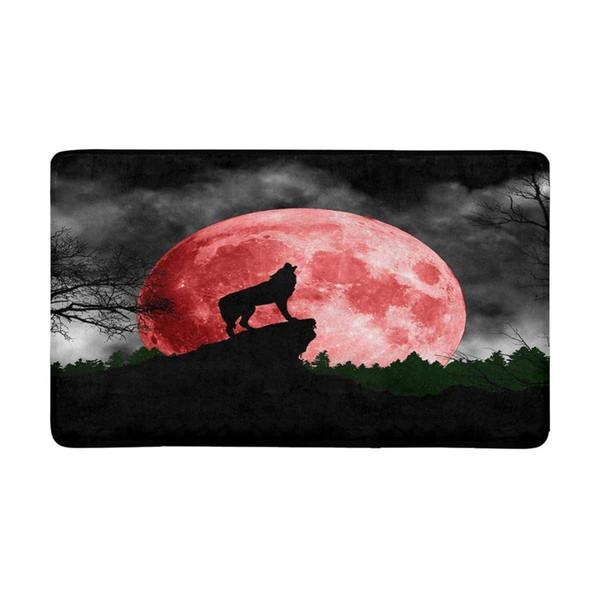Cool Wolf Howling at Red Moon Indoor Zerbino antiscivolo anteriore porta zerbino tappeto