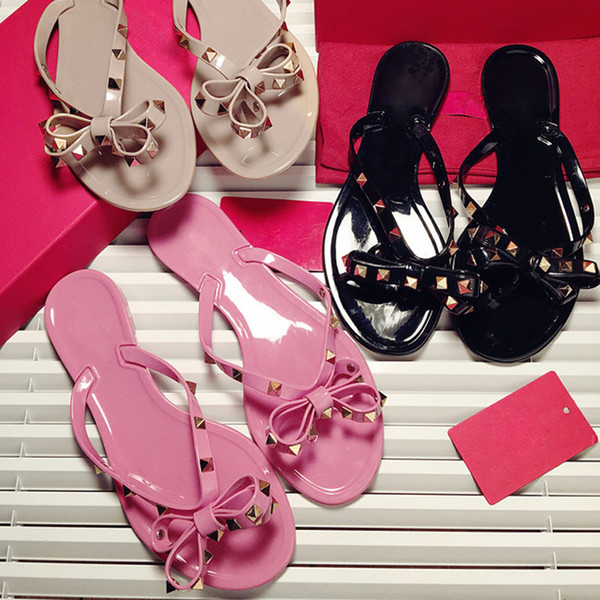 Hot Sale-Wholesale summer women Flats beach sandals Jelly BOW Casual shoes for girl flip flops rivets slippers with box