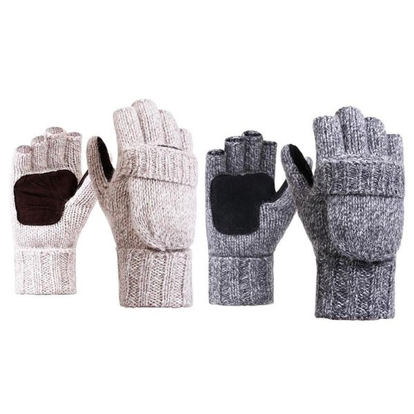 Knitted Half Finger Gloves Men Women Winter Warm Thick Flip Outdoor Gloves Flip Wool Work Thick Fingerless