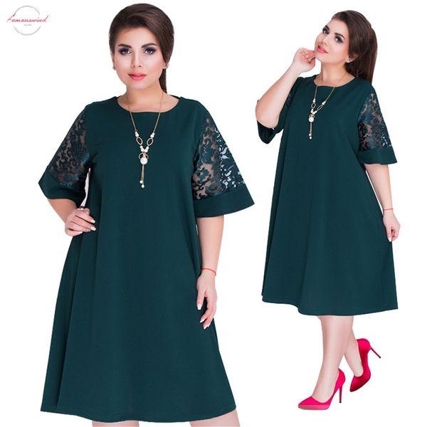 Vestido de encaje de costura verde Vestidos Tamaño 6XL de verano vestidos de las mujeres del otoño Red Plus del partido del vestido flojo ropa grande de diseño