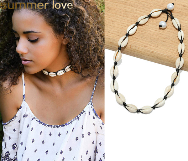 New Gold Silver Couleur Cauris Collier Collier Nature Shell Déclaration Collier Ras Du Cou Bohême Collier Collier Femmes Mode Plage Bijoux