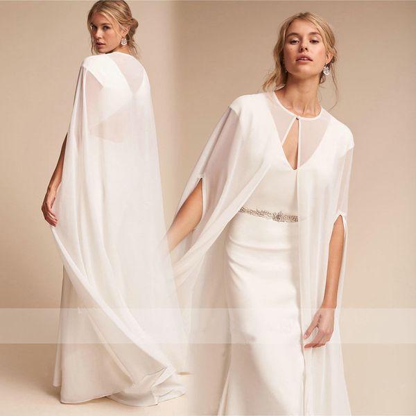 Women's Long Chiffon Cape White /Ivory Wedding Jacket Cloak Bridal Dress Wraps Wedding Cape Wraps for Formal Dresses Women Dress Accessories