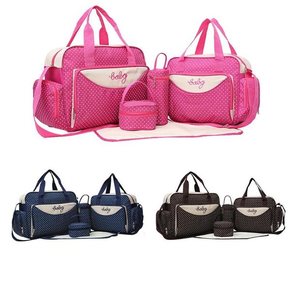 5pcs Baby Diaper Shoulder Bags Large Capacity Mummy Stroller Maternity Nappy Handbag Sets Mother's Bottle Holder Bags for Mom
