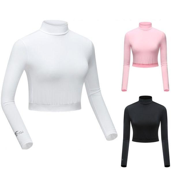 Camisa de Manga Longa Das Mulheres de Golfe Ao Ar Livre Anti-UV Protetor Solar Gelo Cortada Tops Senhoras Respirável Macio Colheita de Golfe Tops D0680