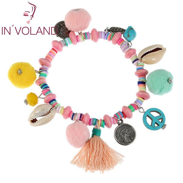 Women Fashion Shell Tassel Small Plush Ball Bangle Beauty Everyday Bracelet Colorful Wristband Shell, Tassel,