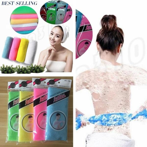 Nylon Japanese Exfoliating Skin Bath Shower Wash Cloth Bath Brushes Bath Skin Body Wash Massage Scrub Household Bathroom Sponges I009