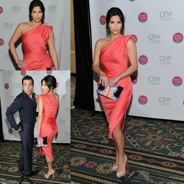 Korallen Kim Kardashian Promi Abendkleider Eine Schulter Roter Teppich Kleider Kurze Prom Party Kleider Benutzerdefinierte Größe