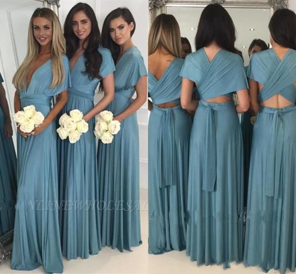 2019 arabo blu scuro formale sirena damigella d'onore abiti economici V Neck Wedding Guest Dress per occasioni Robe De Soiree abiti da sera