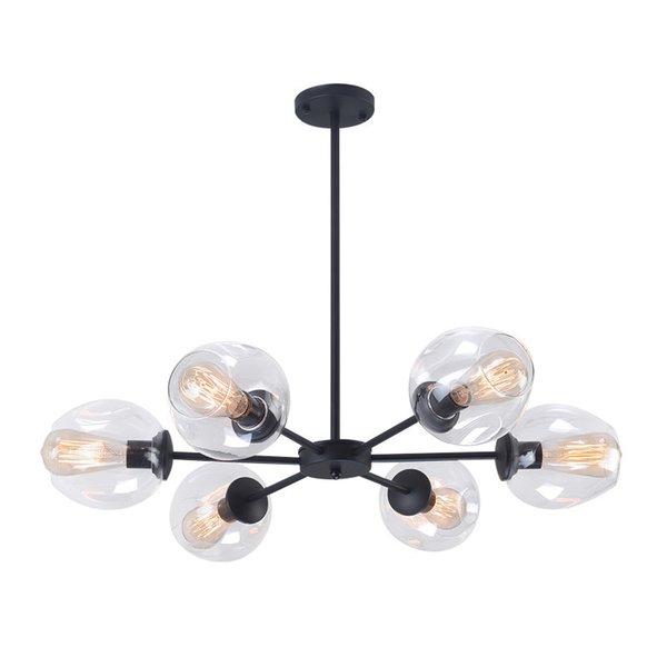 Lustre en verre moderne Nordic Salle à manger Cuisine Salon Designer Éclairage Luminaire Or Noir LED lampes suspendues