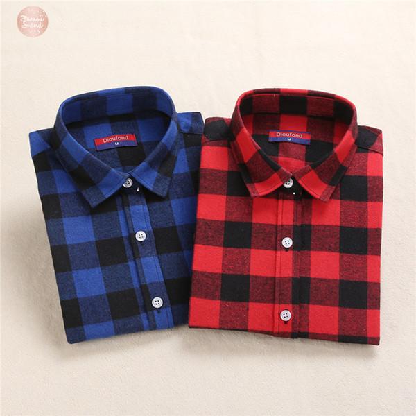 Плед блузка Женщины Рубашка хлопок Топы с длинным рукавом Blusas красный плед рубашку Женщины Красные Одежда Плюс Размер и топ