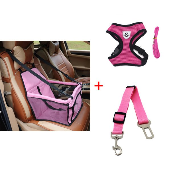 Pawstrip Booster Car Seat Basket Safety Belt Mesh Harness Vest Small Dog Leash Pet Travel Accessories SH190628
