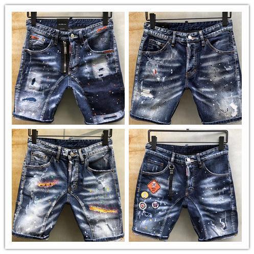 19 neue Designer Jeans der Marke d2 für den Original Denim Denim Stoff Original Brief LoGO Hardware Zubehör Craft DQ2 Denim Shorts