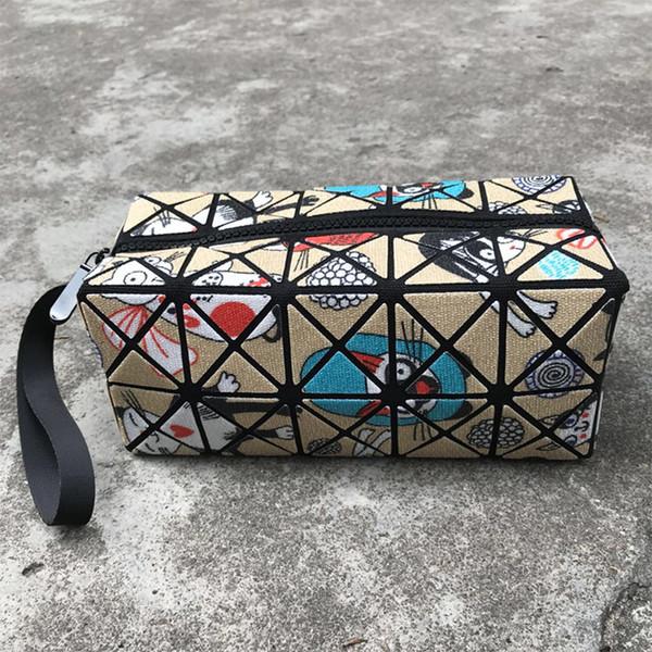long wallet new fashion geometric folding rhombic cosmetic bag printing clutch