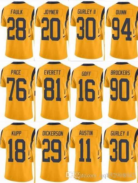 the best attitude 5a564 65b91 2019 RAMS Los Angeles #30 Todd Gurley #16 Todd Gurley #99 Aaron Donald 29  Eric Dickerson #28 Men Women Youth ColorRush Elite Football Jerseys From ...