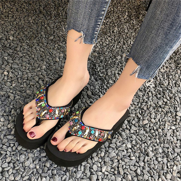 Sandalet boncuklu elmas terlikler kadın sandalet terlik 2019 yaz yeni takozlar kadın ayakkabı
