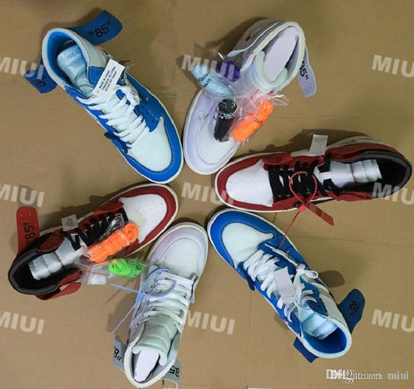 High Quality 1 NRG High White Basketball Shoes Powder Blue 10X Chicago Bred 1s Men Trainers Shoes OF Black Red Sneaker US5.5-13