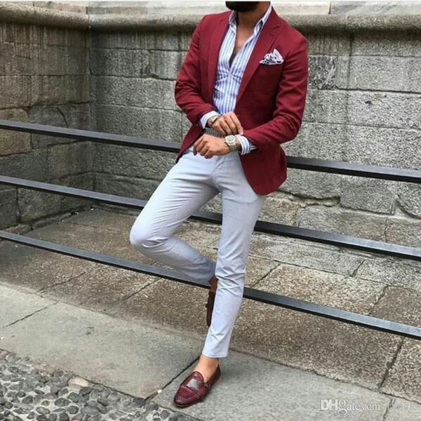 Latest Designs Burgundy Man Business Suits Male Blazers Groom Tuxedos Men Suits for Wedding 2Piece Coat Pants Slim Fit Terno Masculino