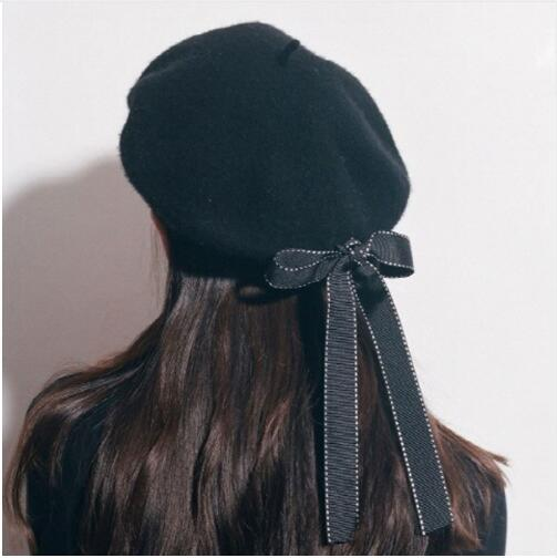 2019 New Fasion Women Casual Soft Solid Bow Elegant Berets Winter Warm Hat Beret Hat With Bowknot