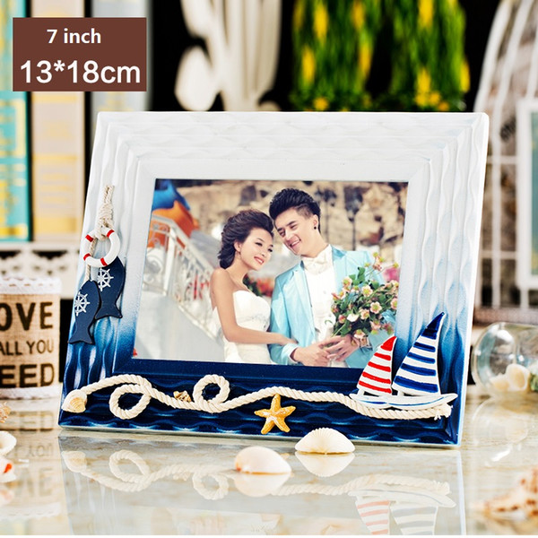 Multi-size Mediterranean Sea Style Photo Frames Creative Wood Tabletop Frame 3''5''7'' Mini Picture Frames Home Art Decor Gifts