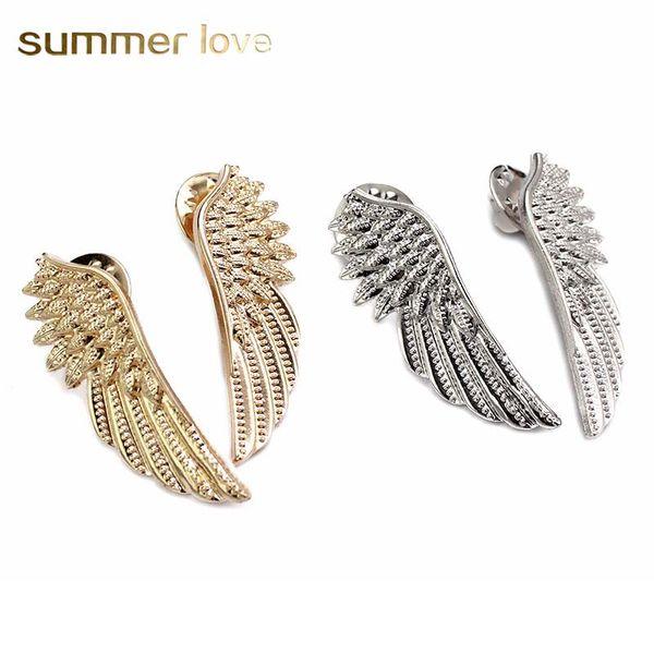 Estilo gótico Alas de ángel Camisa de cuello Suéter Broches para las mujeres Niñas Plata Color de oro Broche fresco Regalo de la joyería de San Valentín