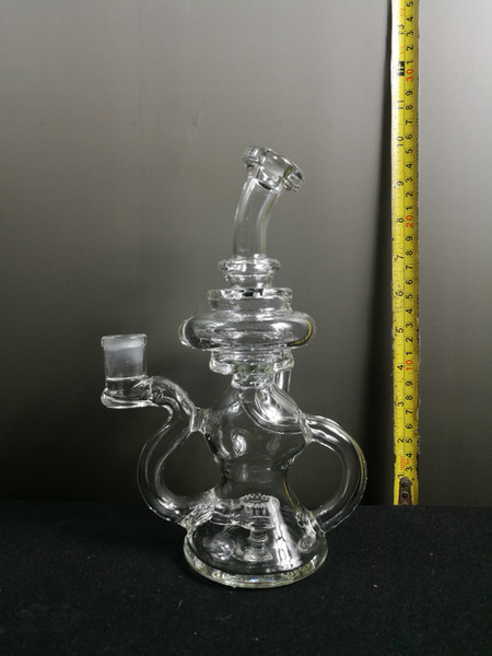 "TAG- 8"" Recycling Stacked Bellow Ball Bent Neck with Super Slit Puck Diffuser - 14MM Female - Sandblasted Logo - Clear .02"