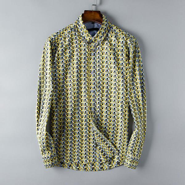 Camisas de diseño para hombre Camisa de negocios de patrón de cuadrícula de celosía Blusa de marca de manga larga Primavera Otoño de buena calidad para hombre Tops S-3XL