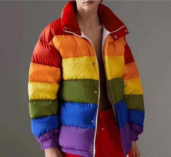 Remplissage Ykk Pain Style Dames Rainbow De Duvet De INS Glissière Multicolore Vente Courte Acheter Manteaux Fermeture Duvet Chaude À Doudoune Femmes 8nPk0ZXwON