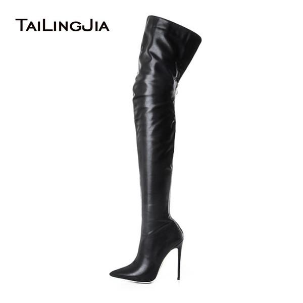 Knee High Boots Bayanlar Uyluk Uzun Çizme Stiletto topuk Büyük Beden Toptan Üzeri Kadınlar Siyah Yüksek Topuk Sivri burun