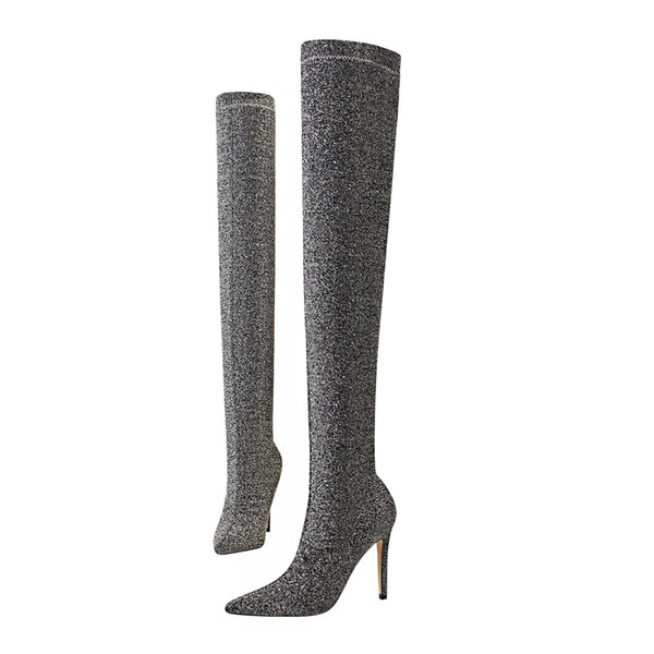 Women Sexy Thigh High Boots Lady Shiny Over-the- knee Boots Super High Heels Knight Boots Pointed Toe Stretch Boot Bling Shoes