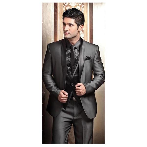 Crazy2019 Wedding Tuxedos Suits For Men Modern Best Man Suit Grey Formal Suit Groom Tuxedo Mens Jacket+Pants+Tie+Vest