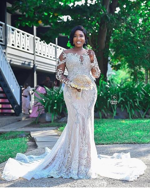 Luxury Arabic Beaded Lace Mermaid Wedding Dresses 2020 Sheer Neck Long Sleeves Bridal Dresses Plus Size Wedding Gowns robes de mariée