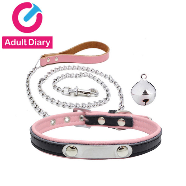 Adult Diary Pu Leather Bdsm Collar & Metal Chain Leash Erotic Toys Fetish Slave Torture Sex Toys For Couples Adult Bondage Games Y190716