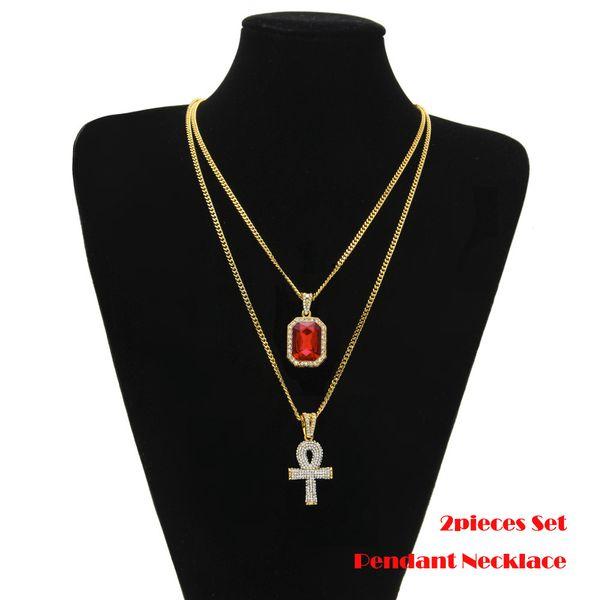 Double Pendants Black/Red/Blue Mini Gemstone & Big Rhinestones Key Cuban Chain Two Necklace Men Women HipHop Jewelry Necklaces Sets