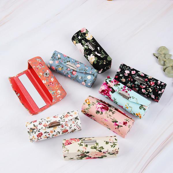 Estuche cosmético de lápiz labial bordado retro Diseños de flores con espejo Maquillaje Almacenamiento Embalaje Caja de brillo de labios Mujeres Regalo de moda