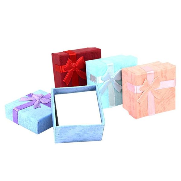 Creative Bowknot Square Organizer Box 4 cm Rings Storage For Rings Earrings Storage Box Small Gift Earrings Organizer