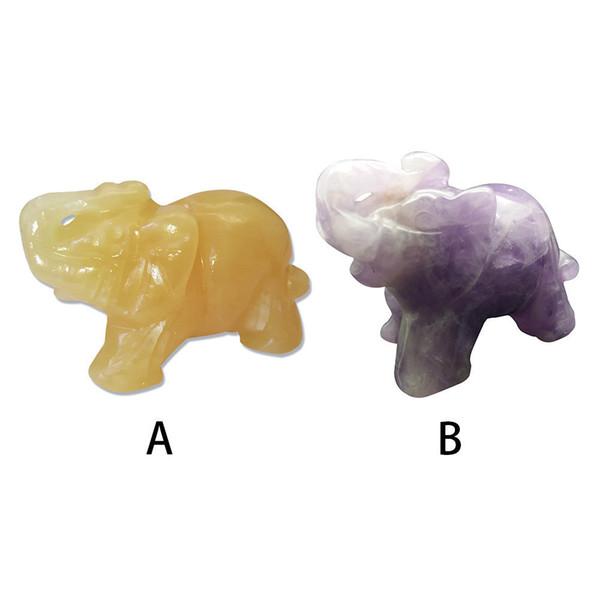 1.5 Pulgadas Animal de bolsillo Estatua Tallada Estatuilla Jade Piedra Elefante Decoración Del Hogar Ornamento C19041101