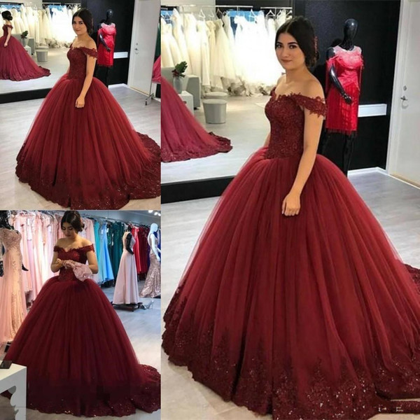 Burgundy Off The Shoulder Quinceanera Dresses Ball Gown Capped Sleeves Princess Saudi Cheap Prom Evening Gowns Custom Made BC1649