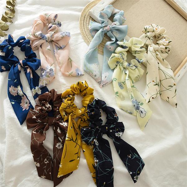 INS Bahar Yaz Parlak Gül Çiçek Saç Scrunchies Kadın Aksesuarları Saç Bantları Kravatlar At Kuyruğu Tutucu Kauçuk Halat Dekorasyon Uzun yay B11