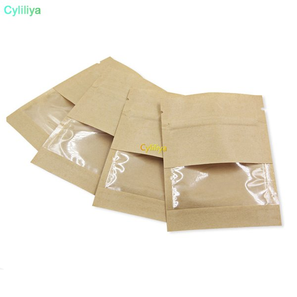7*9cm White Brown Kraft Paper Zip Lock Packaging Bags with Clear Window Resealable Zipper Pouche For Candy Snack Package