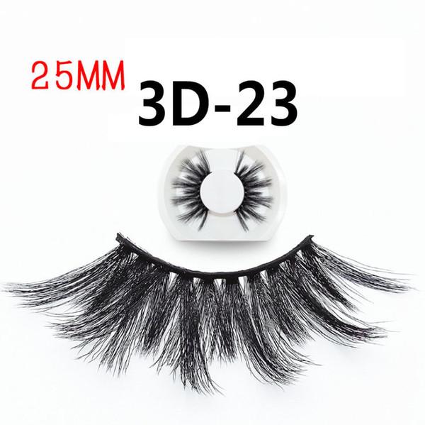 25mm New Eyelashes 3D-23 2019 Women's Handmade 3d False Eyelashes Hot Exaggerated Eyelashes Full Strips single pair Black Color Extra Thick