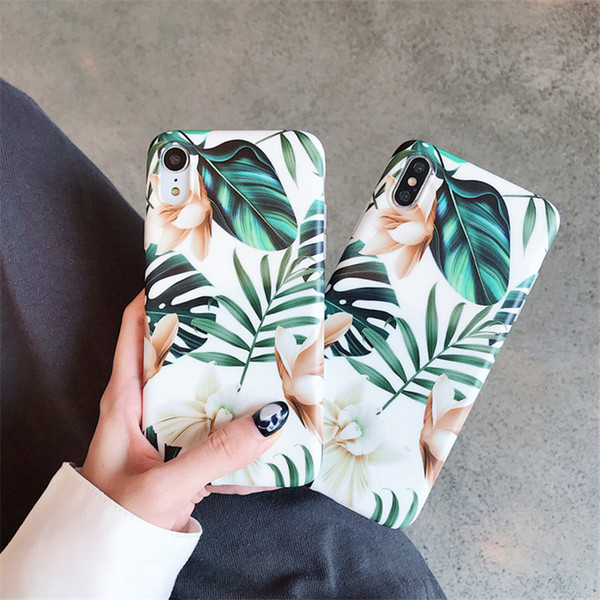 Art Flowers Leaf Phone Case For iphone XS Max Case For iphone X XR 6 S 7 8 Plus Back Cover Fashion IMD Cases Retro Capa