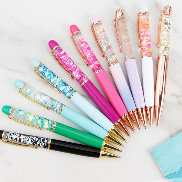 best selling Creative Design Oil Flow Dry Flower Sequin Metal Ballpoint Pen Liquid Floating Pen Writing Supplies Advertising Signature Pen Student Gift