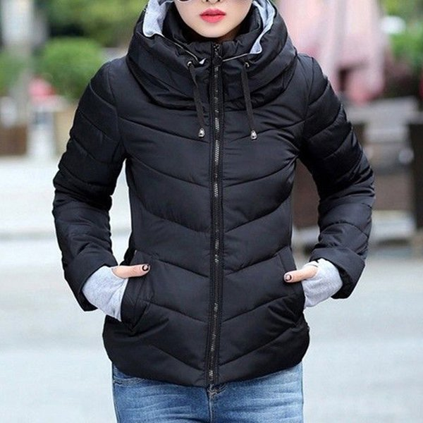 Hooded Women Winter Jacket Autumn Casaco Feminino Inverno Short Cotton Padded Womens Coat Solid Color Parka Stand Collar